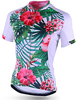 cheap -21Grams Women's Short Sleeve Cycling Jersey Polyester Green Floral Botanical Bike Jersey Top Mountain Bike MTB Road Bike Cycling Breathable Quick Dry Reflective Strips Sports Clothing Apparel
