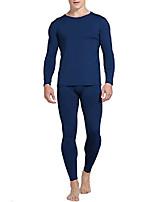 cheap -mens thermal underwear fleece lined basic long john set ultra soft navy