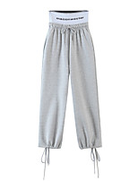 cheap -Women's Sporty Basic Comfort Daily Going out Jogger Sweatpants Pants Solid Colored Letter Full Length Pocket Drawstring Gray