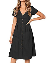 cheap -women's summer solid color short sleeve v neck button down casual swing midi dress with pockets