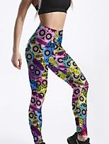 cheap -Women's Sporty Comfort Gym Yoga Leggings Pants Skull Flower Ankle-Length Print Rainbow