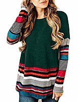 cheap -shirt women round neck long sleeve striped patchwork loose stretch sweatshirt ladies vintage sport casual jogging fitness lightweight pullover blouse autumn christmas tops l