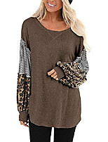 cheap -womens leopard color block shirts long lantern sleeve striped blouse tops deep grey