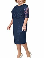 cheap -plus size bodycon dresses for women, knee length mini dress with lace smock crop tops business work elegant dress s-5xl navy