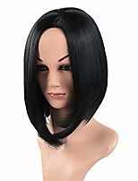 cheap -14inch/35cm synthetic straight hair bob cut wig middle part shoulder length fashion bob wigs for women cosplay wig+free wig cap (black)