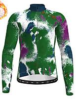 cheap -21Grams Men's Long Sleeve Cycling Jersey Winter Fleece Green Camo / Camouflage Bike Top Mountain Bike MTB Road Bike Cycling Fleece Lining Warm Sports Clothing Apparel / Stretchy / Athleisure