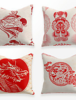 cheap -Cushion Cover 4PCS Linen Soft Decorative Square Throw Pillow Cover Cushion Case Pillowcase for Sofa Bedroom 45 x 45 cm (18 x 18 Inch) Superior Quality Mashine Washable Chinese Style Red Printed