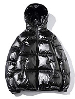cheap -men's metallic hooded puffer jacket winter full zip down alternative quilted padded coat (large, black)