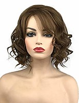 cheap -short wavy wig medium golden brown hair heat resistant full synthetic wigs with irregular part women's hair