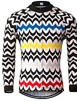 cheap -21Grams Men's Long Sleeve Cycling Jersey Polyester Black / White Patchwork Bike Jersey Top Mountain Bike MTB Road Bike Cycling UV Resistant Breathable Quick Dry Sports Clothing Apparel / Stretchy