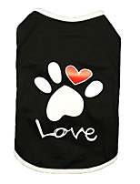 cheap -Dog Shirt / T-Shirt Vest Printed Basic Cute Casual / Daily Dog Clothes Puppy Clothes Dog Outfits Breathable White Black Costume for Girl and Boy Dog Cotton XS S M L XL XXL