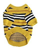 cheap -Dog Coat Sweater Stripes Fashion Cute Casual / Daily Winter Dog Clothes Puppy Clothes Dog Outfits Breathable Yellow Costume for Girl and Boy Dog Knitted XS S M L XL XXL