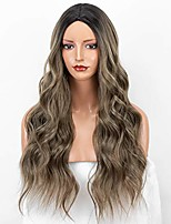 cheap -ombre brown synthetic wigs with dark roots brown wigs for women cosplay glueless long wavy wig heat resistant
