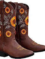cheap -heelchic women's sunflower printed western boots cowgirl round roe short boots embroidered boots brown