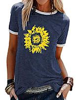 cheap -women's sunflower shirts round neck short sleeve casual t-shirt tee tops navy