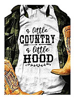 cheap -a little country a little hood country music tank tops women funny letter print casual summer graphic tees (l, white)