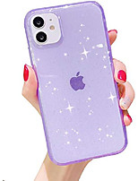 "cheap -compatible with iphone 12 pro case and iphone 12 case clear glitter case sparkle bling for women cute slim soft silicone gel phone case flexible phone case for iphone 12/12 pro 6.1"" (purple)"