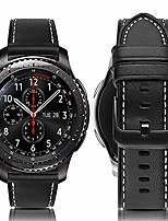 cheap -gear s3 watch band 46mm, gear s3 frontier/classic band 22mm genuine leather bands replacement strap for samsung gear s3 frontier/classic sm-r760/pebble time men women-black+white line