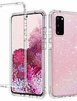 cheap -for galaxy s20 case glitter clear sparkly bling rugged shockproof hybrid full body protective case cover [without screen protector] for samsung galaxy s20 6.2 2020, clear glitter