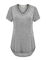 cheap -women's v-neck high low basic top heather grey