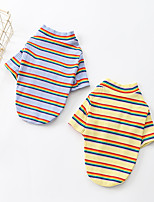 cheap -Dog Shirt / T-Shirt Stripes Basic Cute Casual / Daily Winter Dog Clothes Puppy Clothes Dog Outfits Breathable Yellow Blue Costume for Girl and Boy Dog Cotton S M L XL XXL