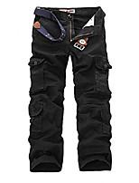 cheap -men's durable multi-pocket relaxed fit cargo pants all-season black