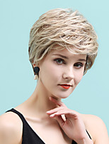 cheap -Human Hair Blend Wig Short Straight Natural Straight Bob Pixie Cut Layered Haircut Asymmetrical White Brown Cosplay Curler & straightener African American Wig Capless Women's All Black / Grey Sliver