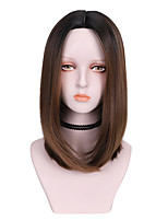 cheap -Synthetic Wig Straight Middle Part Wig Medium Length Dark Brown Brown Grey Black Synthetic Hair 16 inch Women's Comfy Fluffy Brown Gray