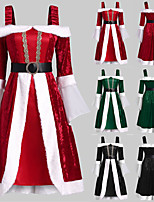 cheap -Santa Suit Costume Adults' Women's Christmas Christmas Festival Christmas Halloween Festival / Holiday Polyester Black / Red / Green Women's Easy Carnival Costumes Solid Color / Dress