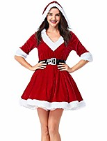 cheap -women's mrs. claus costume 2 piece hooded santa christmas party cosplay dress up outfit red us l