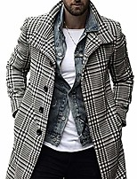 cheap -esobo men's long trench pea coat casual notch lapel single breasted plaid mid (grey,large)
