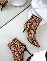 cheap -Women's Boots Stiletto Heel Pointed Toe Booties Ankle Boots Punk & Gothic British Preppy Party & Evening Home Walking Shoes PU Leopard Winter White Black Yellow / Booties / Ankle Boots