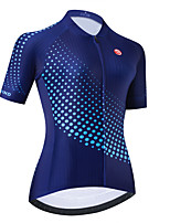 cheap -Women's Short Sleeve Cycling Jersey Dark Blue Polka Dot Bike Top Mountain Bike MTB Road Bike Cycling Breathable Quick Dry Sports Clothing Apparel / Stretchy / Athletic