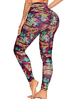 cheap -sexy women's texture leggings booty yoga pants high waist ruched workout butt lifting pants tummy control push up #3 textured color tie dye m