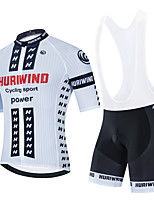 cheap -Men's Short Sleeve Cycling Jersey Cycling Jersey with Bib Shorts Cycling Jersey with Shorts White Black Black / White Bike Breathable Quick Dry Sports Graphic Mountain Bike MTB Road Bike Cycling