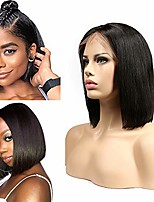 cheap -tuneful short bob glueless lace front wigs human hair pre plucked with baby hair 130% density brazilian straight hair 8 inch middle part lace wigs for black women (8 inch, bob wigs)