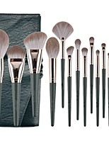 cheap -Super New 14 Thread Green Cloud Makeup Brush Set Super Soft Powder Brush Beauty Tool Set For Beginners