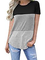 cheap -women's casual short sleeve round neck top triple color block stripe t-shirt tunics blouse (black, small)