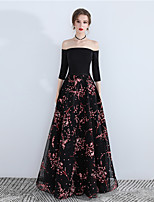cheap -A-Line Floral Sexy Wedding Guest Prom Dress Off Shoulder 3/4 Length Sleeve Floor Length Satin with Pattern / Print 2020