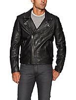 cheap -men's cross fade leather motorcycle jacket outerwear, -black, small