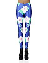 cheap -Women's Sporty Comfort Skinny Gym Yoga Leggings Pants Floral Patterned Full Length High Waist Blue
