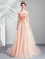 cheap -A-Line Elegant Floral Engagement Formal Evening Dress Spaghetti Strap Half Sleeve Sweep / Brush Train Tulle with Beading Appliques 2020