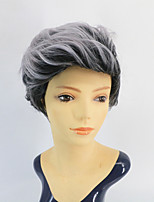 cheap -New Wigs Hot Selling Wigs  Ladies Fashion Black Grey Fluffy Realistic Short Curly Hair Headgear Black Grey Short Hair