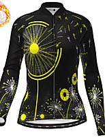 cheap -21Grams Women's Long Sleeve Cycling Jersey Winter Fleece Yellow Orange Green Bike Top Mountain Bike MTB Road Bike Cycling Fleece Lining Warm Sports Clothing Apparel / Stretchy / Athleisure