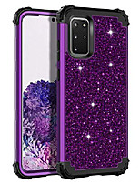 cheap -for galaxy s20 plus case glitter sparkle bling heavy duty hybrid sturdy high impact shockproof protective cover case for samsung galaxy s20+ plus 5g 6.7 inch 2020, shiny purple/black