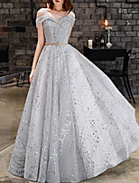 cheap -A-Line Elegant Sparkle Prom Formal Evening Dress V Neck Sleeveless Floor Length Lace with Sequin 2020