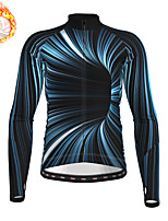 cheap -21Grams Men's Long Sleeve Cycling Jersey Winter Fleece Polyester Dark Navy 3D Bike Jersey Top Mountain Bike MTB Road Bike Cycling Fleece Lining Warm Quick Dry Sports Clothing Apparel / Stretchy
