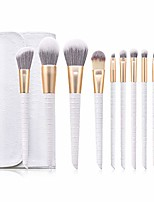 cheap -leatherwear 10pcs professional makeup brushes set tools soft premium synthetic hairs wood handle cosmetics face foundation powder highlight blush blending eyebrow concealers eyeshadow kit bag(white)