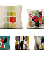 cheap -Cushion Cover 5PCS Linen Soft Decorative Square Throw Pillow Cover Cushion Case Pillowcase for Sofa Bedroom 45 x 45 cm (18 x 18 Inch) Superior Quality Mashine Washable Colorful Geometry Pattern