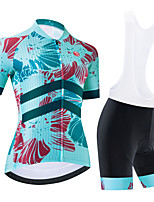 cheap -Women's Short Sleeve Cycling Jersey Cycling Jersey with Bib Shorts Cycling Jersey with Shorts Black Sky Blue Black / White Bike Breathable Quick Dry Sports Graphic Mountain Bike MTB Road Bike Cycling